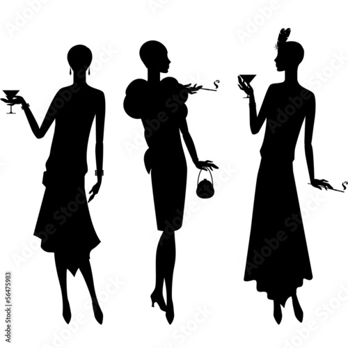 Silhouettes of beautiful girl 1920s style. - 56475983