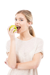 Eating a green apple