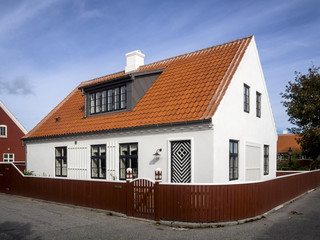 White house in the center of Skagen in jutland