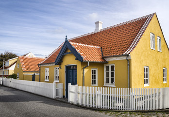 Yellow house in the center of Skagen in jutland