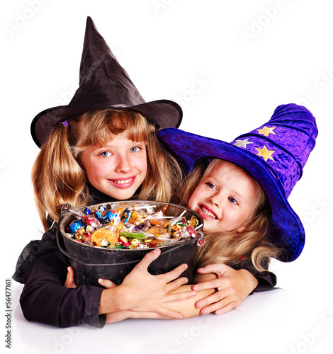 Witch happy girl  with trick or treat. Halloween.
