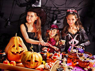 Children on Halloween party .