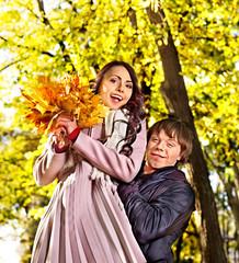 Couple on date autumn outdoor.