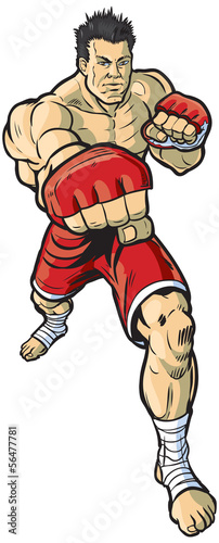 Mma Fighter Throwing Punch Vector Illustration