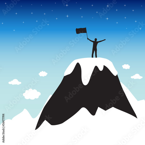 Silhouette of man on top the high mountain
