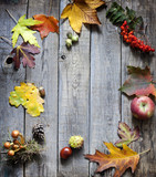 Autumn abstract leaves and signs on vintage boards background
