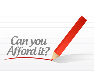 can you afford it written message