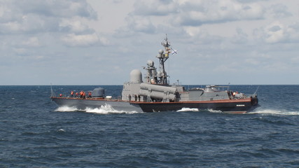 missile boat in a stormy sea