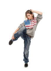 American girl break dancer in motion, isolated on white