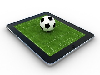 Football field on tablet, isolate