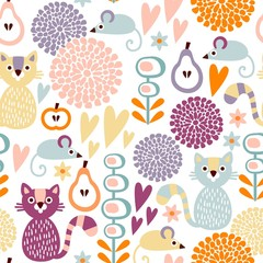 Cute colorful seamless floral vector pattern with cat and mouse