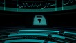 Businesswoman showing revolving screens with computing scenes