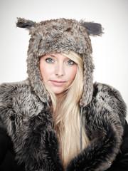 Nice lady dressed in warm winter coat