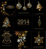 New Year's or Christmas toys made of gold snowflakes.
