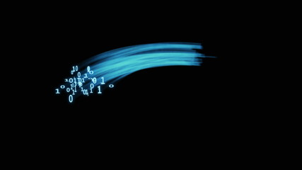 Digital animation of binary codes exploding