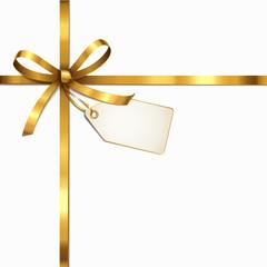 Goldene Schleife mit Etikett - Überkreuz