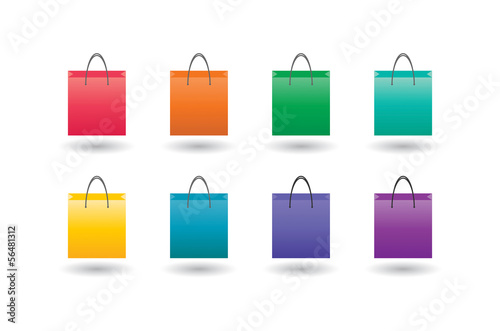 Shopping bag with icon set