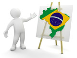 Man and Brazilian map (clipping path included)