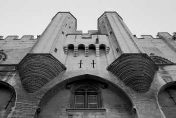 Black and white image, Popes Palace in Avignon, Provence, France