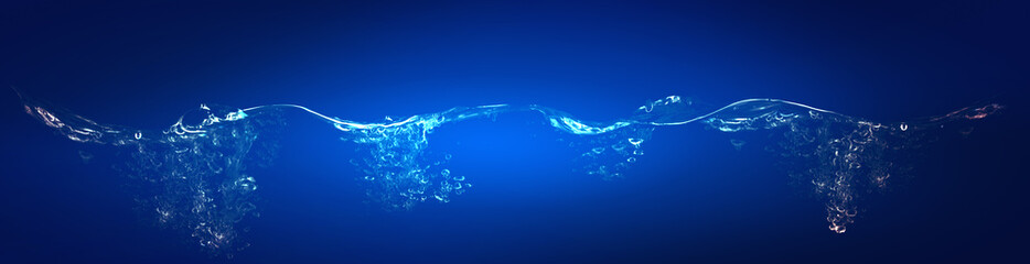Water wave collage on blue background