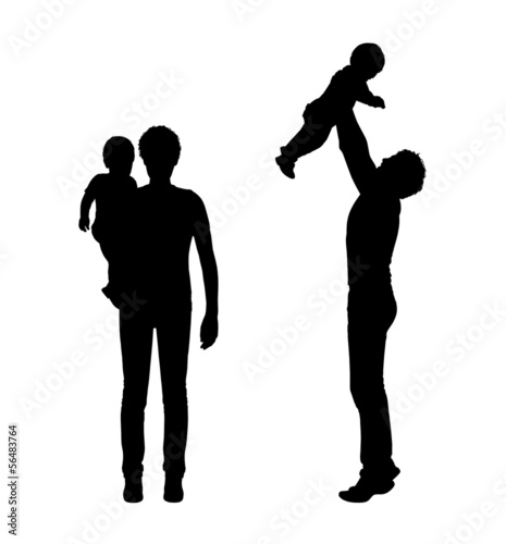 father and child outdoor silhouettes set