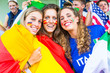 German, Spanish and Italian Supporters at Stadium