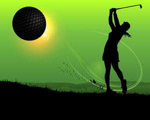 silhouette of woman golfer