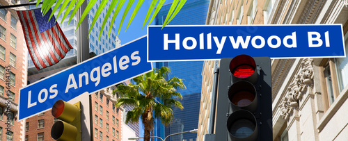 Aluminium Los Angeles Hollywood Los angeles redlight signs on California photo-mount