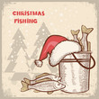 Christmas card.Drawing image of successful fishing on old backgr