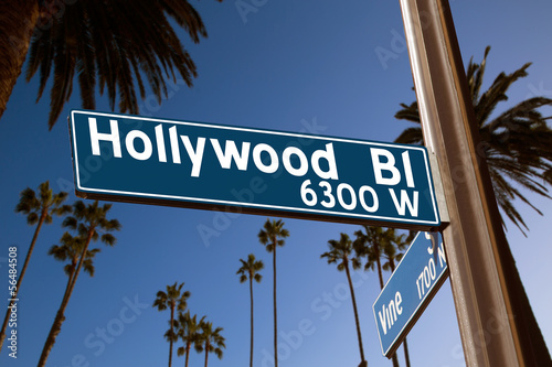 Aluminium Los Angeles Hollywood Boulevard with sign illustration on palm trees