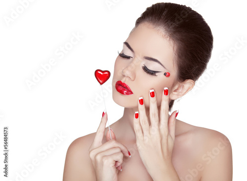Beauty Vogue Style Fashion Model Girl with Long Lushes. Manicure