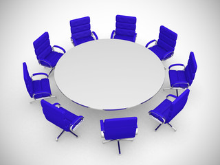 round table and chairs isolated on white background
