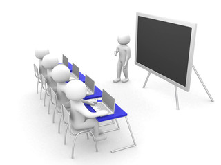 teacher with pointer at blackboard