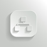 Network icon - vector white app button