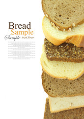 Variety of bread slices vertical aligned