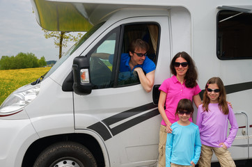 Family travel in motorhome (RV) on vacation