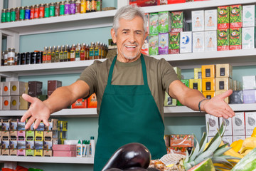Salesman With Arms Outstretched Supermarket