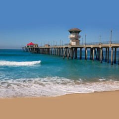 Huntington beach Surf City USA pier view