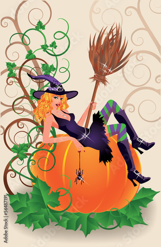 Halloween sexual witch and pumpkin, vector illustration