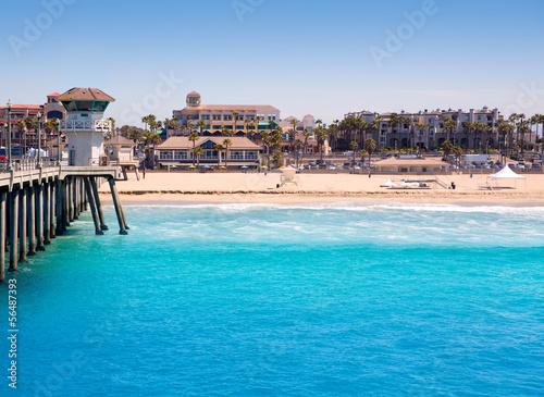 Fototapeta Huntington beach Surf City USA pier with lifeguard tower