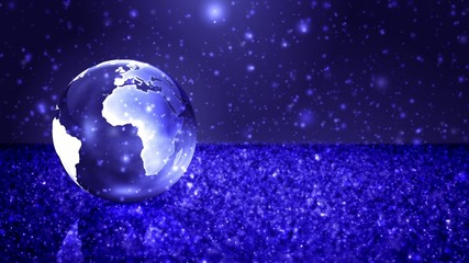 Earth Sphere in Snow Field