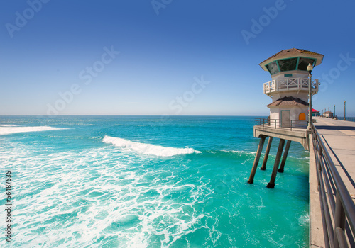 Fotobehang Los Angeles Huntington beach main lifeguard tower Surf City California