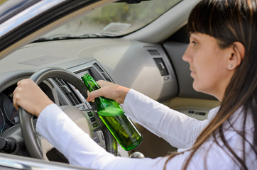 Women driver drinking and driving