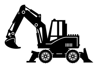Excavator, vector illustration