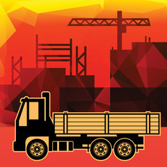 Delivery truck on industry background, vector