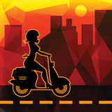 Scooter Girl silhouette, vector illustration