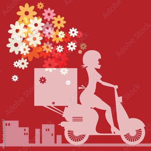 Scooter Girl silhouette, vector illustration