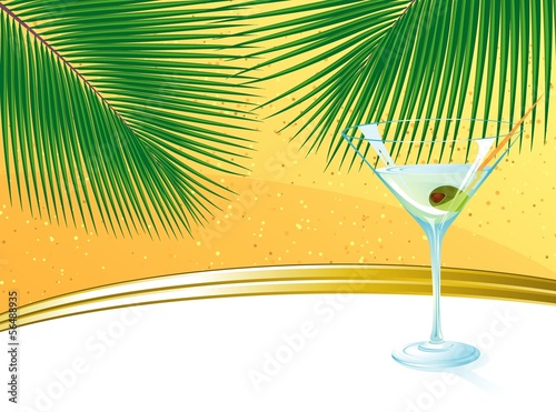 Beach abstract. Vector template.