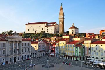 Piran, Pirano, Slovenia - Piazza Tarini e Chiesa di San Pietro
