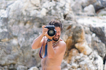 Professional Beach Photographer Taking Picture